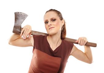 Crazy girl with axe