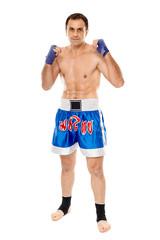 Kickboxer in guard stance