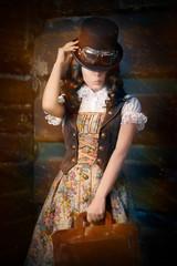 Steampunk Girl with Leather Portfolio Bag