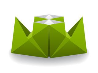 vector origami paper steam boat