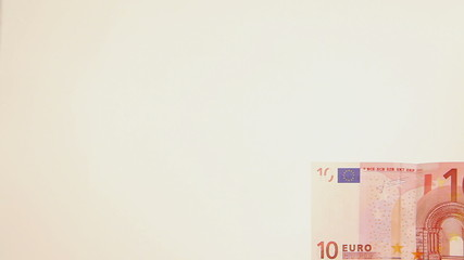 Moving from right to left ten euro banknote