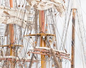 Old sail and old ship masts