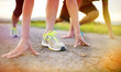 canvas print picture - Couple running feet closeup