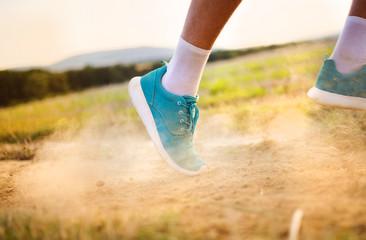 Man running feet closeup