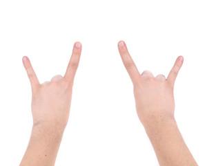Man hand rock sign.