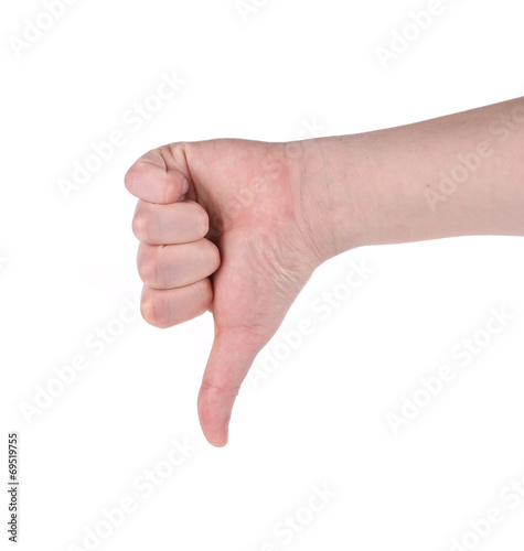 canvas print picture Thumb down male hand sign.
