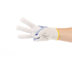 Thin work gloves shows three fingers.