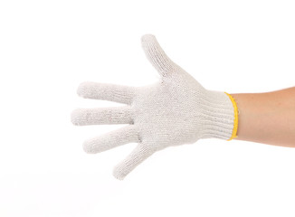 Thin work gloves shows five fingers.