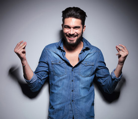 Man smilling and moving his hands