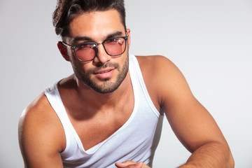 cute fit man with glasses