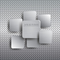 Squares with drop shadow on metal background.
