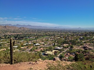 View of Tempe and Phoenix from Camelback Mountain, USA