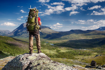 Hiker in the Wilderness of Sweden