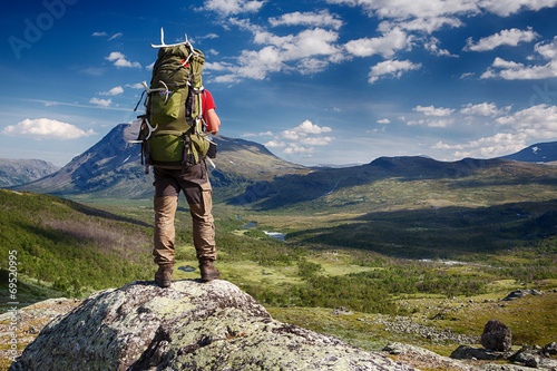 Hiker in the Wilderness of Sweden - 69520995