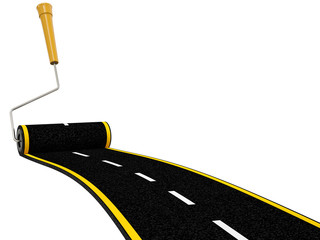 Roller Brush Painting  Winding Road Isolated on White Background