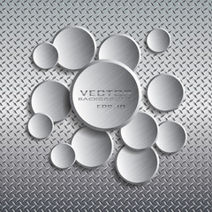 Circle with drop shadow on metal background.