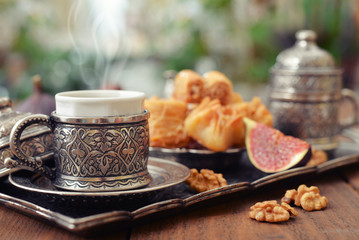 Oriental sweets with coffee
