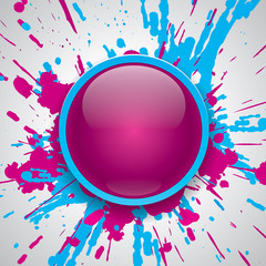Vector glossy button, paint color explosion background