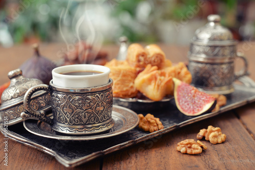 Poster Oriental sweets with coffee