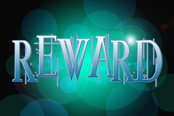 Reward word on vintage bokeh background, concept sign