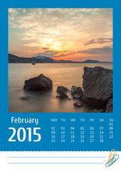 2015 photo calendar with minimalist landscape. February.