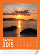 2015 photo calendar with minimalist landscape. November.