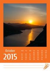 2015 photo calendar with minimalist landscape. October.