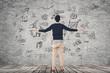 Leinwanddruck Bild - business plan on wall