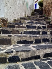 Scenic street stairs on a hillside in Taxco, Guerrero, Mexico