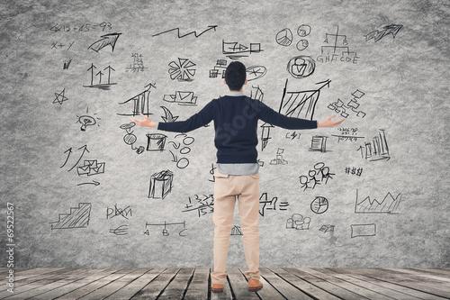 Leinwanddruck Bild business plan on wall