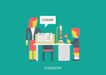 Flat style vector illustration chemistry lesson spirit formula