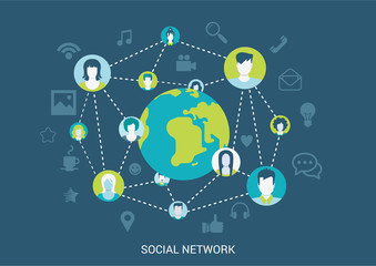 Flat style vector illustration social network connection concept