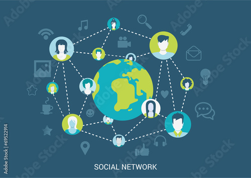 Flat style vector illustration social network connection concept - 69522914