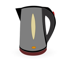 Electric kettle on a white background. Raster