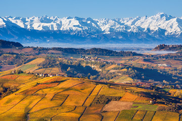 Autumnal hills and snowy mountains in Piedmont, Italy.
