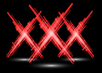 Three red X on a black background. Raster