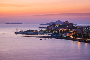 La Manga del Mar Menor Skyline at Night, Murcia, Spain