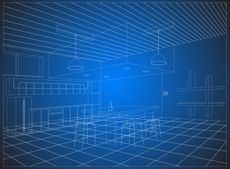 Wireframe kitchen on a blue background