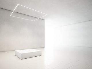 presentation room with white empty podium