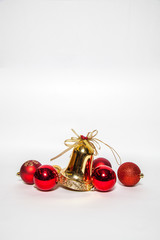 christmas ornament golden bell and red bell