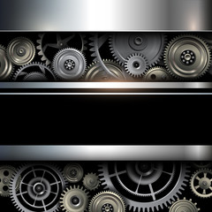 Background metallic with technology gears