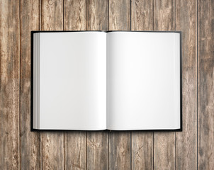 Open textbook with clean blank pages