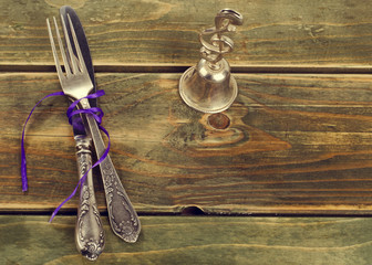 Fork, knife and bell