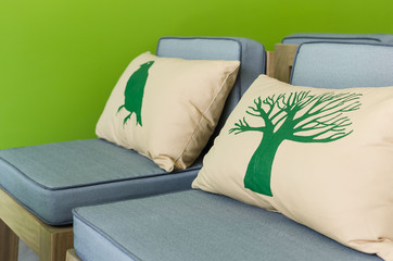 modern wooden chairs with pillows