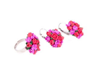 Ring and earrings with flowers set.