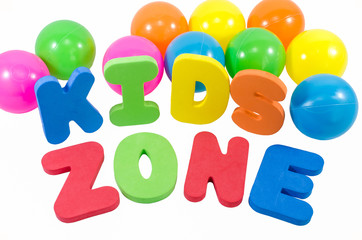The words kids zone with balls