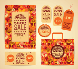 Design set for promotional items for autumn sale.