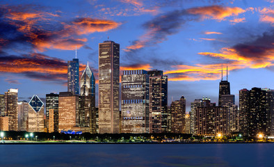 Breathtaking view of Chicago downtown, USA