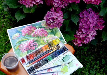 "The drawing ""Blossoming Hydrangeas"", water color paints and flow"