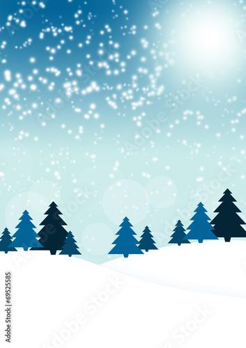 canvas print picture Blaue Weihnachtskarte